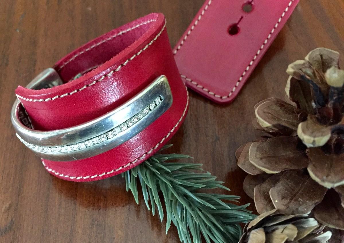 Red Leather Crystal Half Cuff Wide Wrap Bracelet