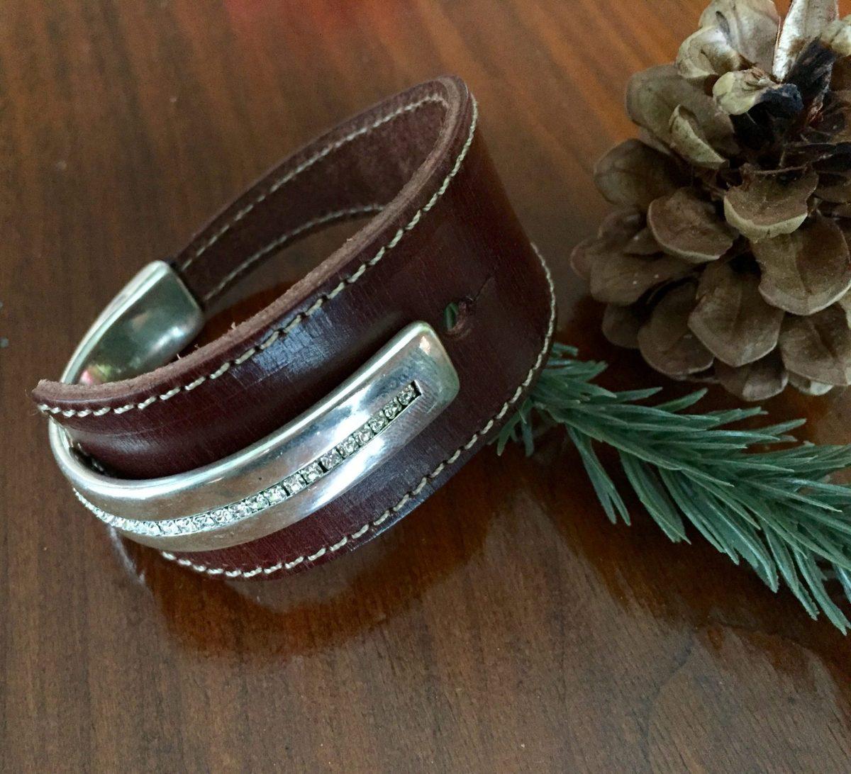 Cognac Brown Wide Leather Silver Swarovski Crystal Cuff Bracelet