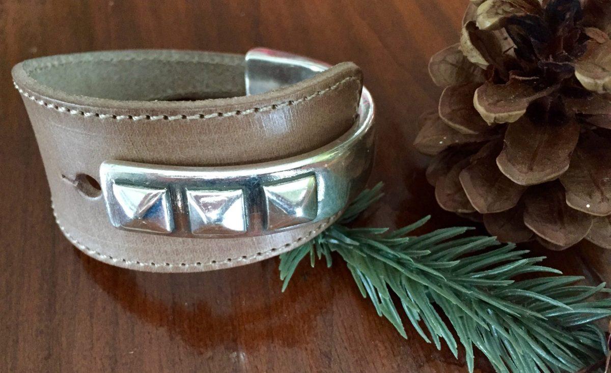 triple stud wide light brown leather half cuff silver bracelet