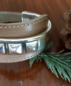 triple stud wide light brown leather half cuff silver bracelet