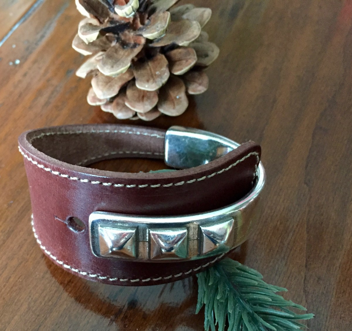 triple stud wide chocolate brown leather half cuff silver bracelet