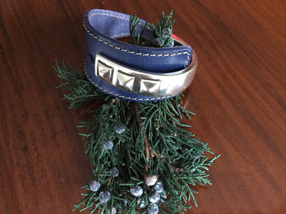 triple stud wide denim blue leather half cuff wrap bracelet