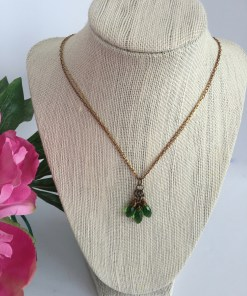 Swarovski Moss Green Crystal Cluster Bimetal Chain Necklace