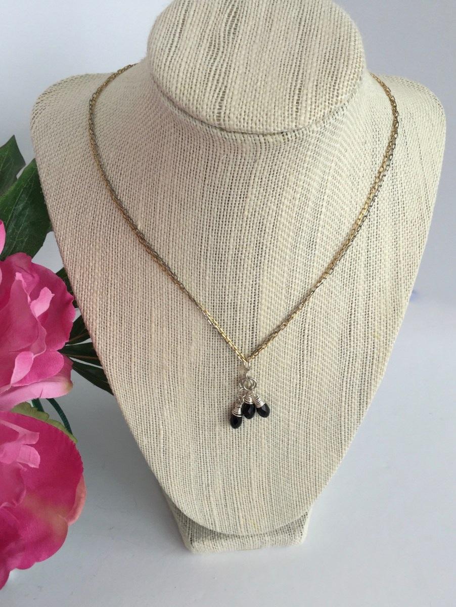 Swarovski Jet Black Crystal Cluster Mixed Metal Necklace