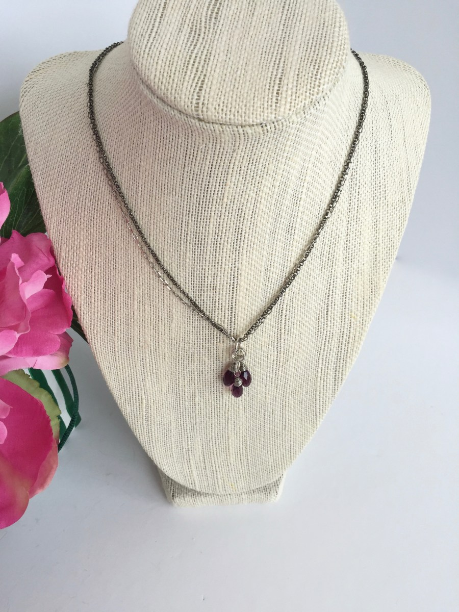 Swarovski Amethyst Crystal Cluster Mixed Metal Necklace