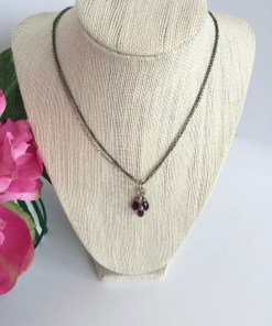 Swarovski Amethyst Crystal Cluster Mixed Metal Necklace