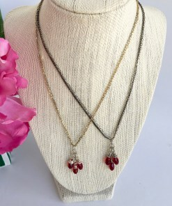 Swarovski Siam Red Faceted Crystal Cluster Mixed Metal Necklace