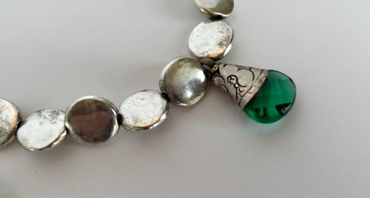 Etched Swarovski Emerald Crystal Pendant