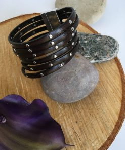 Silver Studded Wide Dark Chocolate Brown Leather Bracelet
