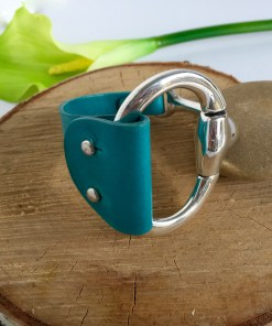 Equestrian Style Half Cuff Turquoise Leather Bracelet