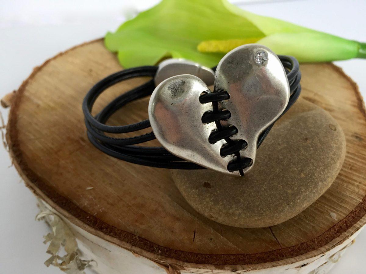 Healing Heart Multi-Strand Black Leather Magnetic Clasp Bracelet