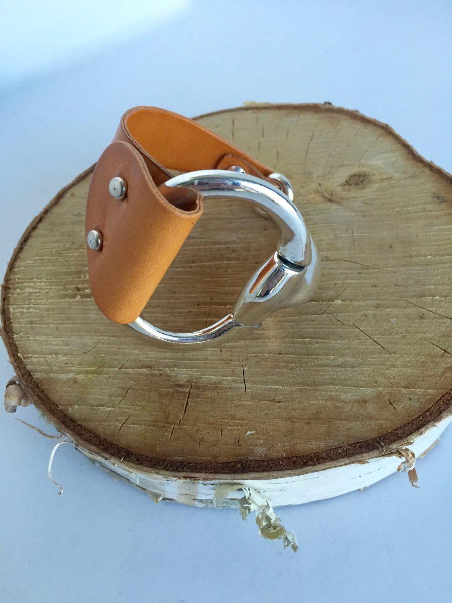 Equestrian Style Half Cuff Saddle Leather Bracelet