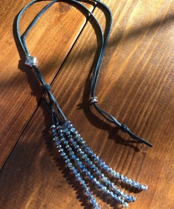 Convertible Blue Silver Crystal Tassel Necklace