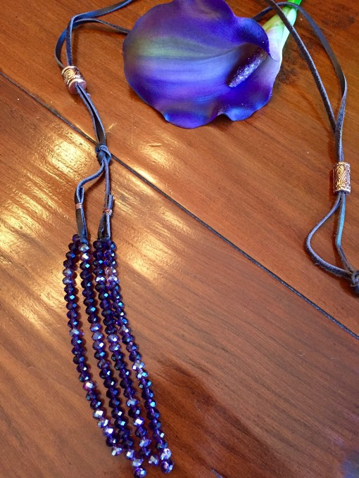 Convertible Purple Crystal Tassel Copper Slider Necklace