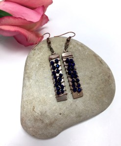 Swarovski Crystal Purple Rock Candy Dangle Earrings