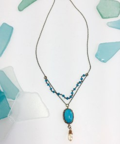 Faceted Turquoise and Diamond Pendant Dual Chain Necklace