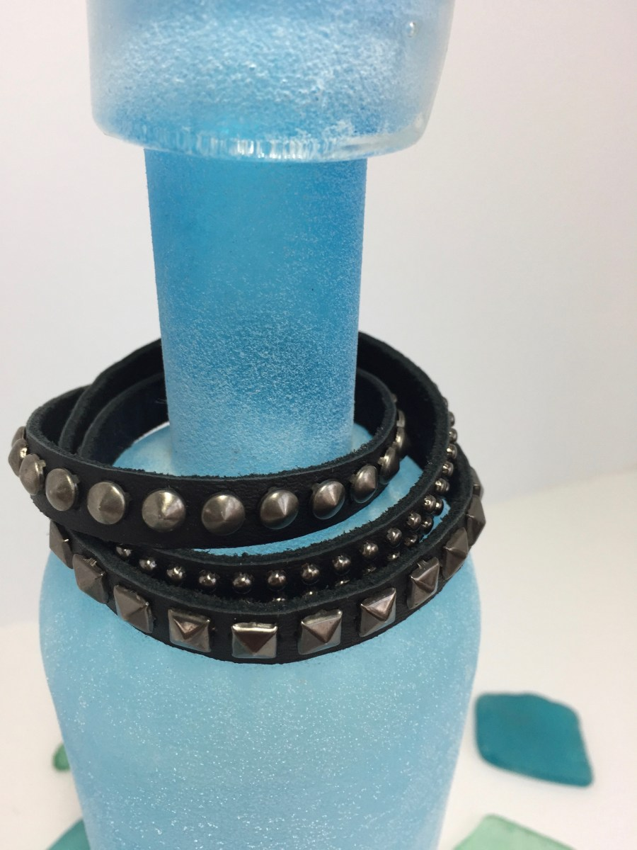 Triple Pattern Brass Riveted Black Leather Wrap Bracelet