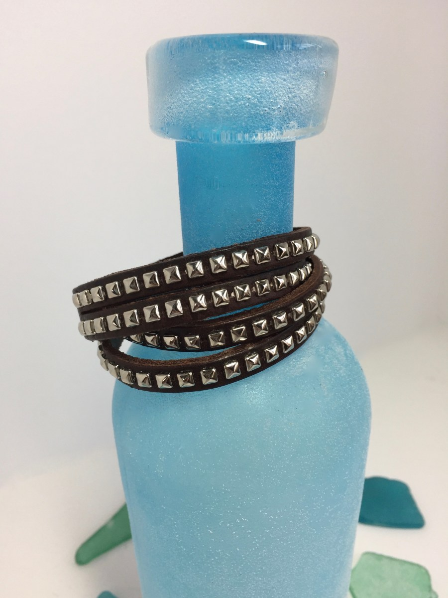 Four Row Silver Riveted Brown Leather Wrap Bracelet