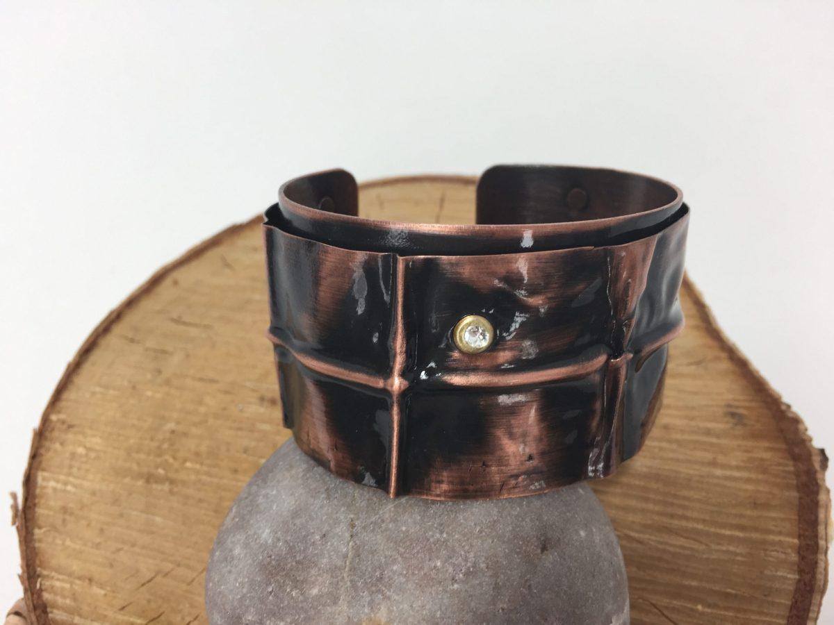 Snakeskin Patterned Custom Copper Cuff Bracelet