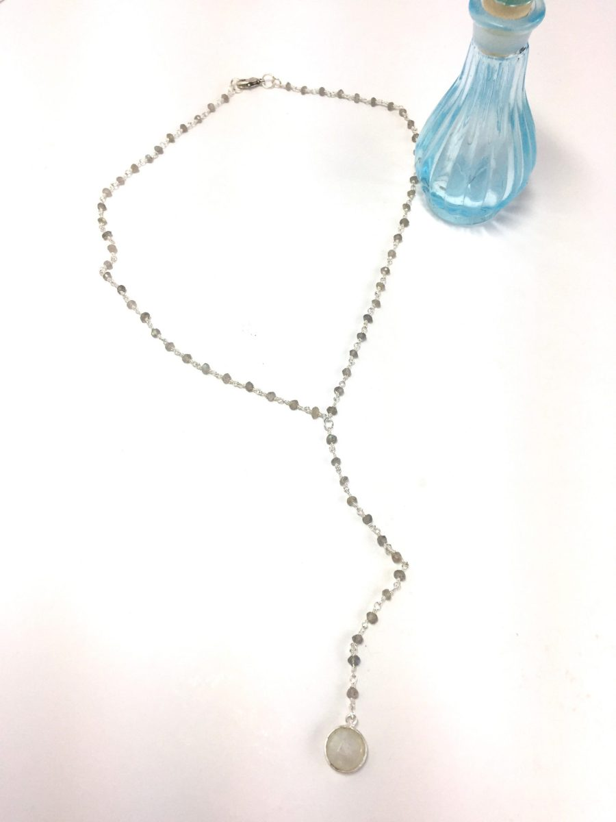 Stormy Labradorite Bead and Moonstone Pendant Y Necklace