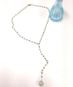 Stormy Labradorite Bead and Moonstone Pendant Y Necklace