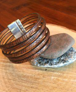Wide Geometric Print Cognac Brown Leather Bracelet