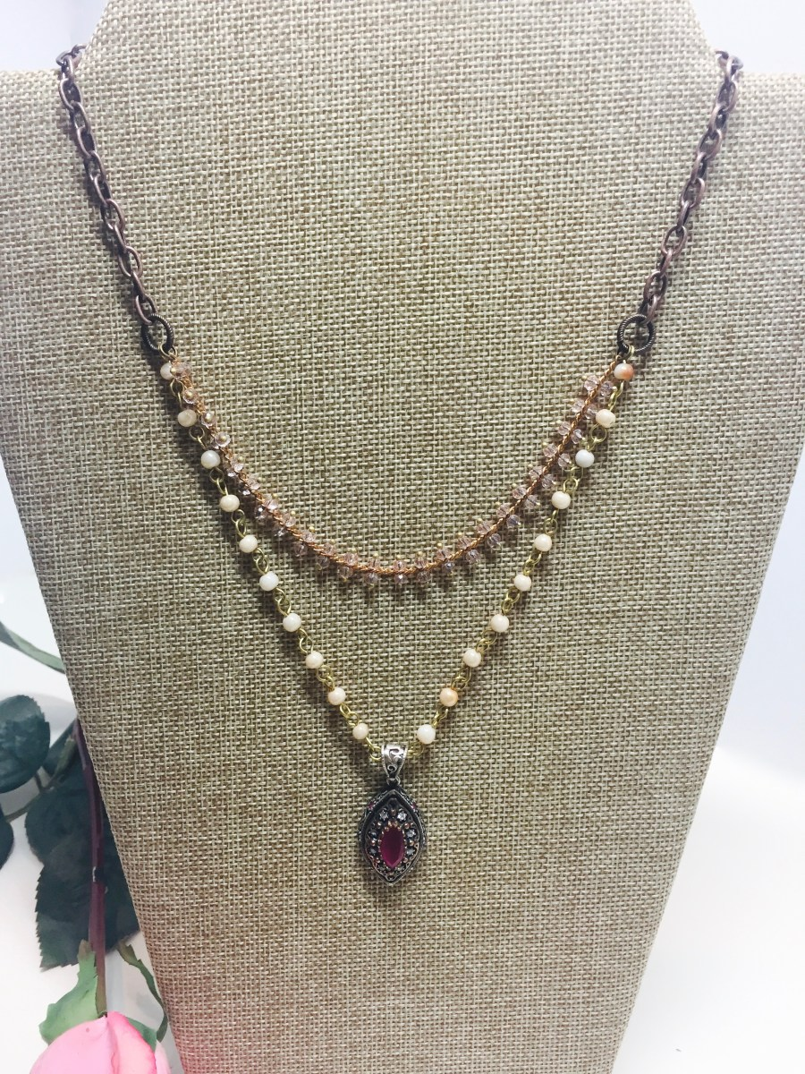 Vintage Style Garnet Marquis Multi-Strand Necklace