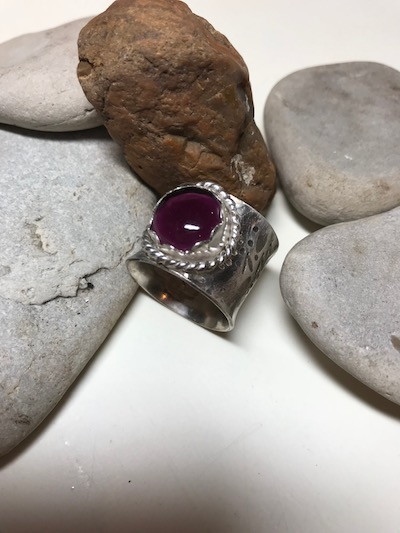 Amethyst Quartz Cabochon Sterling Silver Wide Textured Band Ring