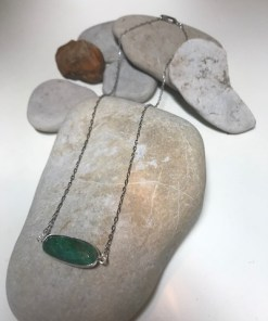 Oval Bezel Set Emerald Necklace