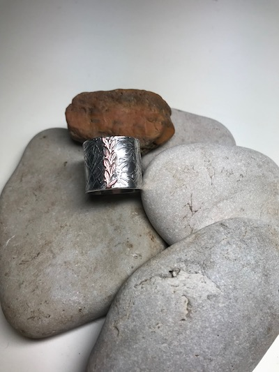 Sterling Silver Wide Textured Band Ring with Copper Leaves
