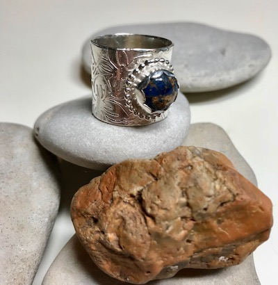 Wide Textured Copper Lapis Cabochon Sterling Silver Ring