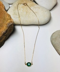 Bezel Set Green Onyx Gold Plated Necklace