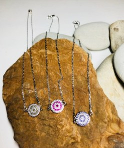 Round Pave Crystal Pendant Delicate Silver Necklace