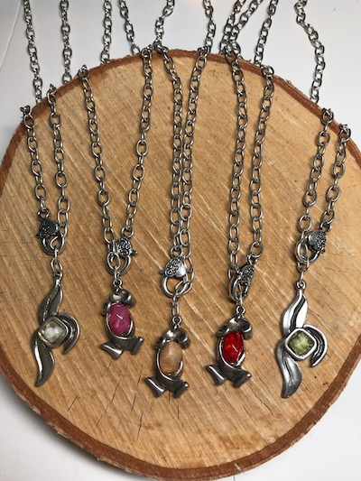 Convertible Resin Pendants on Silver Adjustable Chain