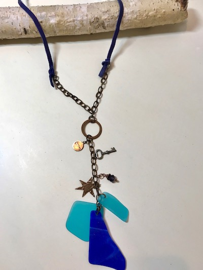 Blue Sea Glass Long Leather Drop Y Necklace