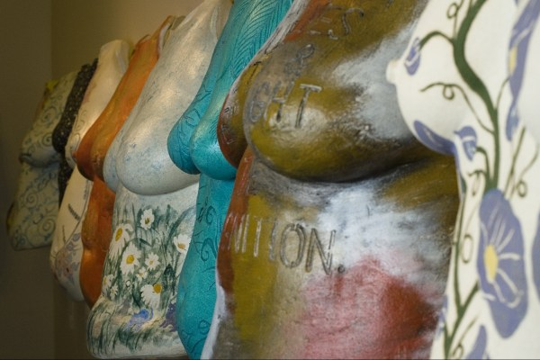 Row of Beautiful Women Project sculptures