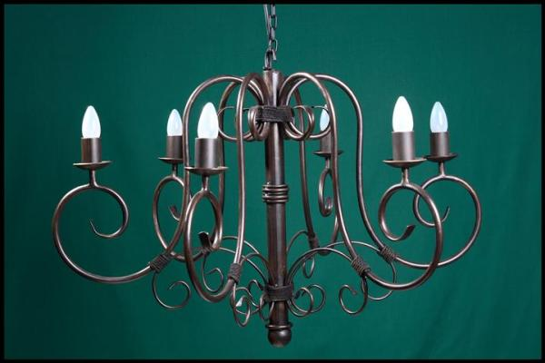 Julia 6 Arm No Leaves Wrought Iron Chandelier