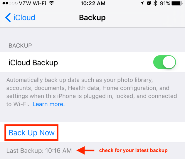 Backup Your iPhone