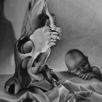 Skull and Baby, pastel on paper, 30