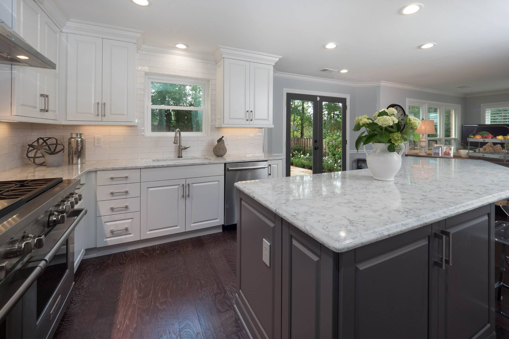 Contemporary White  Gray Kitchen  Cheryl Pett Design