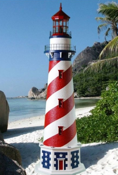 Patriotic Red White and Blue Lawn Lighthouse with Working Lights