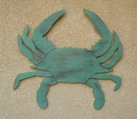 Blue crab wall decor. Large rustic wooden crabs