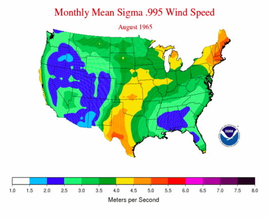 NOAA wind map 1965