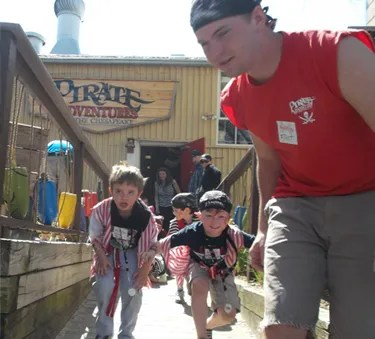 Hauling the treasure at Pirate Adventures