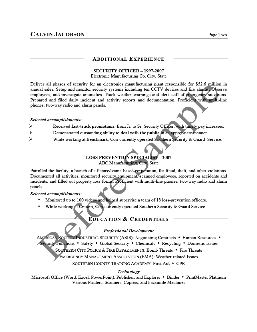 Résumé Samples Chesepeake Career Management Services