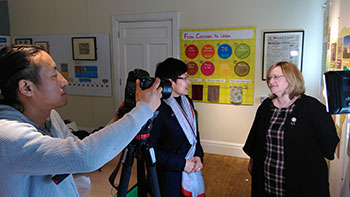 2) Macclesfield Museums Director Sue Hughes being interviewed at the Silk Museum
