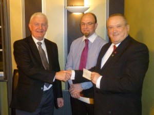 L to Rw. Bro. Bill Lucas (WM Marlowe), Andrew Pilling (Manager Queens Royal), Bro. Ken Fretwell ( BHF)