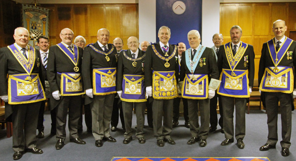 Provincial Grand Master with Provincial Deputation  together with members of Ashton upon Mersey Lodge