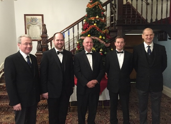 left to right APGM WBro Paul Massie PSGD, Richard Massie (worshipful master of Manor Lodge 4202), Bro Sean Murphy, Bro Saul murphy, WBro Jeff Cunningham PJGW.