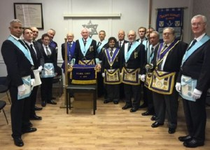 WBro Derek Walsh with Bro's Terence Mulhearn & David Donegan and mmbes of Hilbre Lodge.